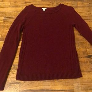 Deep red warm wool j crew sweater
